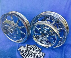 Harley Deluxe Chrome 9 Spoke Wheels Package Deal Best Buy 2000 And Up Heritage