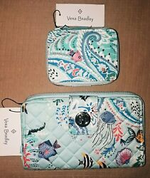Vera Bradley Free Id Paisley Wave Turnlock Wallet And Pill Case See Description