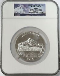 2010 Silver 5 Oz Mount Hood National Park Atb Coin Ngc Ms 69 Early Releases
