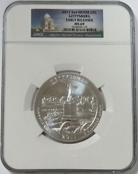 2011 Silver 5 Oz Gettysburg Pa Atb Coin Ngc Ms 69 Early Releases
