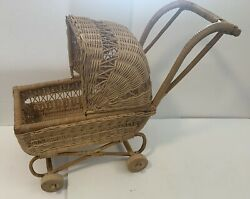 Wicker Baby Doll Carriage Stroller Buggy Wood Wheels Movable Bonnet