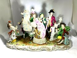 Rare 19th Century Scheibe-alsbach Large Porcelain Grouping Noble Family W/baby