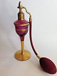 Art Deco Aristo Amethyst And Gold Glass Perfume Bottle Atomizer