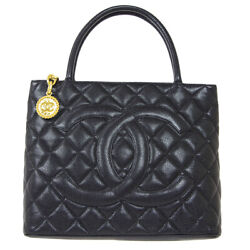 Medallion Quilted Cc Hand Tote Bag 6628809 Purse Black Caviar Skin 80438