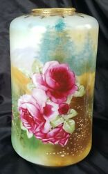 Antique Nippon Vase 12 Hand Painted Roses Over Landscaping And Gold Beaded Rare