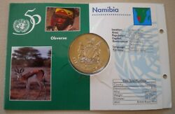 1945-1995 Nations United For Peace Namibia 10 Commemorative Coin Andinfo Card