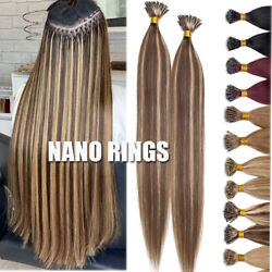 Nano Ring Beads Link 100 Human Remy Hair Extensions Thick 1g/s Cold Fusion Long