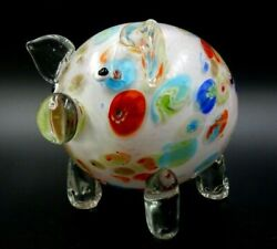 Vintage Murano 7 Long Multicolored Handmade Blown Glass Pig Made In Italy