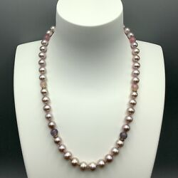 Jane Bohan Tourmaline And Pink Pearl Beaded Necklace W/ 18k Gold Clasp And Rondels