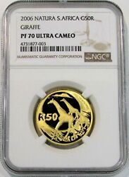2006 Gold South Africa 50 Rand 1162 Minted Natura Giraffe Coin Ngc Proof 70 Uc