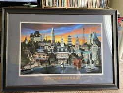 Epcot Festival The Arts 2018 Greg Mccullough Sunset Lagoon Poster 24x36 Framed