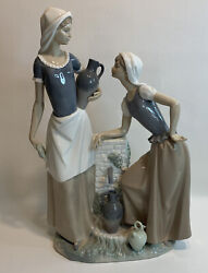 """Rare Nao By Lladro 178 Ladies At The Water Well Women """"talking"""" Figurine Mint"""