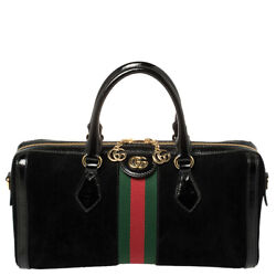 Black Suede And Patent Leather Ophidia Satchel