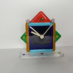 Fused Glass Clock Mantle Desk Primary Colors Habd Made