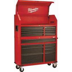 46 In. 16-drawer Steel Tool Chest And Rolling Cabinet Set Textured Red/black