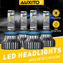 4x Auxito Led Headlight Bulbs High And Low Beam H11 H8 H9 80w 18000lm Cool White