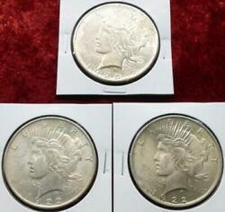 Lot Of 3 Peace Silver Dollars, 3 Silver Peace 1 Coins, 1922 And 1925 P-mint Coins