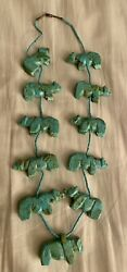 """Estate Zuni Carved Turquoise Bear Fetish Necklace 24"""" Rare Native American"""