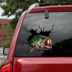 Bass Fishing Crack Decals Car Window Funny Sticker For Fisher Truck 12x12 In