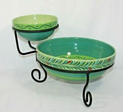 Southern Living At Home Gail Pittman Provence Hand Painted Chip And Dip Bowls Nwob