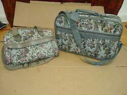 Jordache Floral Tapestry 2 Piece Luggage Overnight Travel Duffel Bag amp; Carry on