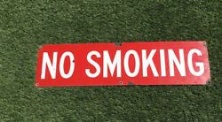 Vintage Gas Station No Smoking Sign, Porcelain, Red, White Letters 30x8