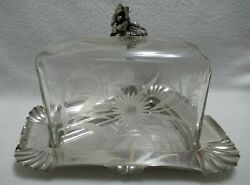 Antique Wmf Silverplate Original Crystal Cut Cheese Stand Cover Dish Tray