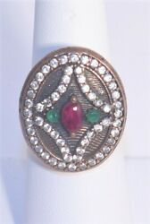 Turkish Blue Emerald Ruby Ring 925 Sterling Silver Jewelry New Size 7