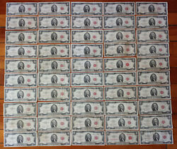 Lot 50 Vg-vf Red Seal 2 Two Dollar Bill 1953-1963 A B Us Note=100 Face No Junk