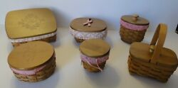 Lot Of 6 Longaberger Horizon Of Hope Baskets W/ Protectors, Liners And Lids