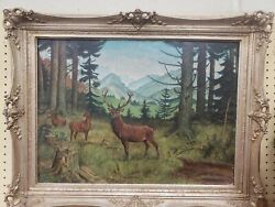 Vintage Oil Painting W. Fahrenbruch Signed Deer In Field Framed Rare Collectible