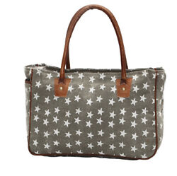 Myra Bag Freedom Of Star Small Tote Bag Brown Canvas Leather $32.00