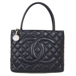 Medallion Quilted Cc Hand Tote Bag 7835640 Purse Black Caviar Skin 60372