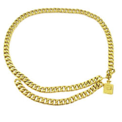 Cc Logos Perfume Charm Gold Chain Belt Accessories Authentic 60422