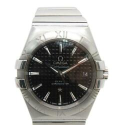 Auth Omega Constellation Watch Stainless Steel Black 1181