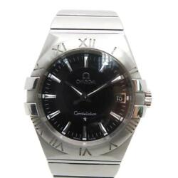 Auth Omega Constellation Watch Stainless Steel Black 1211