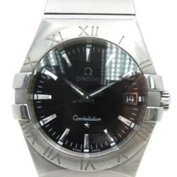Auth Omega Constellation Watch Stainless Steel Black 1228