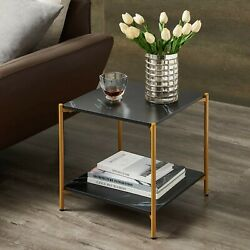 Small Side Table Furniture End Accent Living Room Square Faux Marble Retro Black