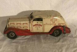 Marx Toys Pressed Steel Ambulance 1940and039s Toy Large Toy