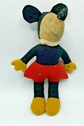 Early 1930's Rat Face Mickey Mouse Stuffed Doll Felted Wool