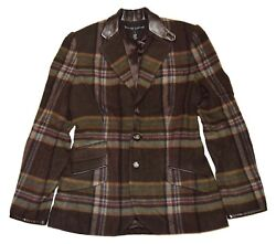 2698 Polo Womens Plaid Cashmere Blazer Usa Brown Olive Green Red 4