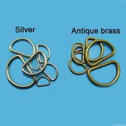 D Rings Metal Buckles For Webbing 20 25 32 38 50mm Bright Silver Antique Brass