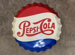 Vintage Embossed Pepsi Cola Bottle Cap Sign {measures 26.5 Inches}