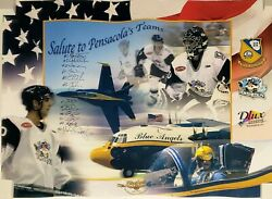Blue Angels Auto 2004 Pilots And Officers Signed 2003 Pensacolaand039s Teams Poster