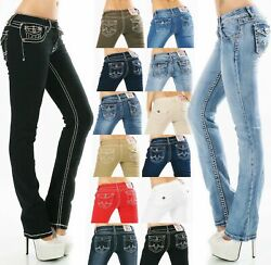 Womenand039s Jeans Pants Straight Straight Bootcut Flap Pocket Thick Seams Size 8-16
