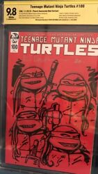 Teenage Mutant Ninja Turtles 100 Cbcs 9.8 Signed And Sketched By Kevin Eastman