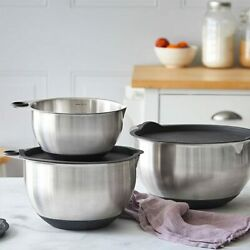 Pampered Chef Stainless Steel Mixing Bowl Set Silicone Bottoms Padded Thumbholes