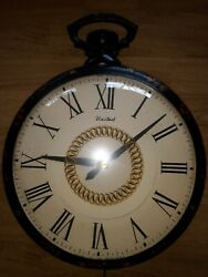 Antique Tole Painted United Clock Corp Model 47 Farmhouse Pocket Watch Wall