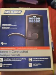 Schlage Home Keypad Lever With Camelot Trim And Z-wave Technology Aged Bronze