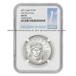 2021 100 Platinum Eagle Ngc Ms70 Fdoi First Day Of Issue American Bullion Coin